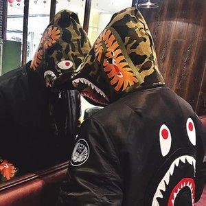 Herren Marke Hiphop Jacke Fashion Shark Pattern Herren Kleidung Luxus Druck Street Style Windbreaker für Hio-Hop Kenye West