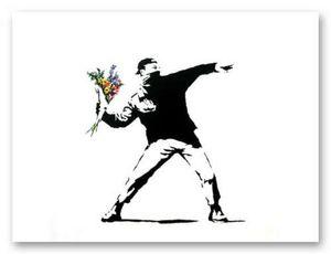 BANKSY FLOWER THROWER chucker Graffiti-Kunst-Ausgangsdekor-handgemaltes HD-Druck Anstrich-Öl auf Leinwand-Wand-Kunst-Leinwandbilder 191117.125