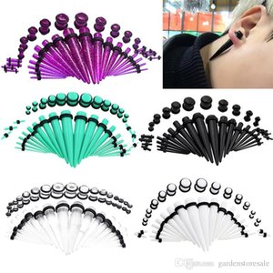 36Pcs / Set Hot Acrílico Ear calibre Taper e plug Alongamento Kits Flesh Tunnel Expansão Body Piercing Jewelry