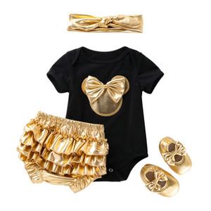 Perakende kızlar butik kıyafetler 4 adet şort setleri yaz bebek pamuk kısa kollu yay romper + gaf + ayakkabı + kafa eşofman giysi tasarımcısı