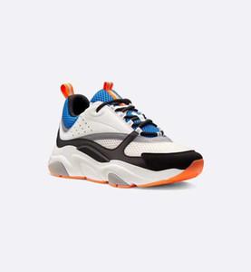 أحذية حذاء رياضة B22 في الزرقاء البرتقالية حك النساء الرجال عارضة أحذية جلد العجل والجلود منصة B22 حذاء رياضة أدنى قطعة الدانتيل متابعة مع صندوق