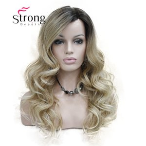 Dantel Uzun Kıvırcık Kahverengi BLonde Ombre Monofilament Yan Kısmı Isı tamam Ombre Koyu Kahverengi Sarışın Tam Sentetik Peruk