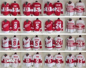 ديترويت ريد وينغز 9 Gordie Howe Jersey Man 13 Pavel Datsyuk 5 Nicklas Lidstrom 24 Chris Chelios Vintage Classic Hockey Jerseys