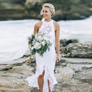Lace Beach Wedding Dresses Romantic 2020 Halter Sleeveless Bohemian Bridal Gown Sheath Front Split Boho Bridal Gown Robes De Mariee AL6238