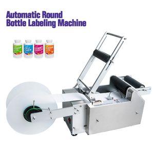 Geben Sie Schiff über DHL LT-50S Halbautomatische runde Flaschen-Etikettiermaschine-Stock-Mark Etikettierer Manuelles Etikettiermaschine für Kunststoff-Glasflaschen