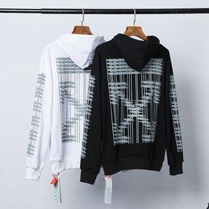 Nova marca européia e maré americano tubo off-aberto seta impressa camisola com capuz zipper casaco branco M L XL XXL