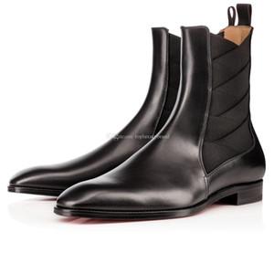 Супер качество бренд Red Bottom дизайнеров Мужского Бута Brians Knight Сапоги из натуральной кожи + Упругого Flats кожаных ботинок Gentleman Свадебной Части