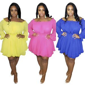 Plus Size Women Dresses Fashion Sexy Solid Color Clothing Long Sleeve Casual Dresses Slash Neck Dress Summer Hot Sale XL-5XL Clothes 3167