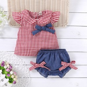 Summer Children Baby Girl Shorts Set Newborn Baby Clothes Set Flare Sleeve Casual Plaid Print Vest Tops+Shorts Outfits