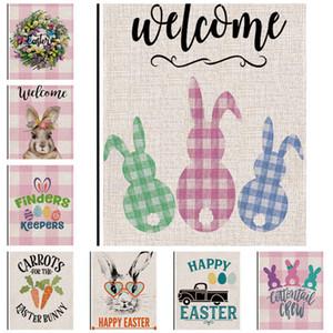 Bandeira Garden Páscoa Linen impressão frente e verso Coelho bonito de Easter Festival Egg Courtyard Pátio de suspensão da bandeira Flags 47 * 32 centímetros D11501 baratos