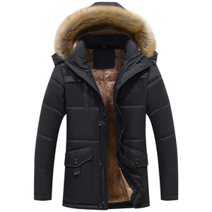 Classic Velvet Winter Casual Long Style Hooded Cotton Jackets Men Thick Hat Detachable Windproof Men Parka Zipper Pockets Coats