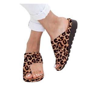Jaycosin Terlik Kadın Moda Flats Leopard Beach Ayakkabı Roman Terlik Sandalet Bohemian Aile Partisi Bulanık Terlik Ayakkabı