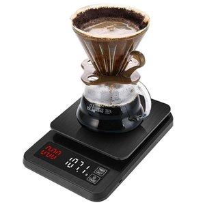 Balanza de precisión cocina electrónica de 5kg / 0.1g 10kg / 1g Escala de café de filtro digital LCD con temporizador Herramientas del peso de balance de los hogares balanza de cocina