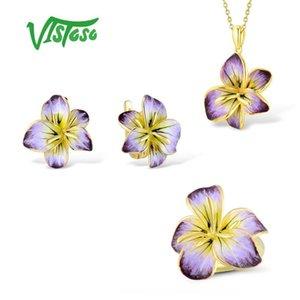 Kadın Beyaz Taşlı Takı Seti Küpe kolye Yüzük 925 Gümüş İnce emaye için Vistoso Takı Setleri