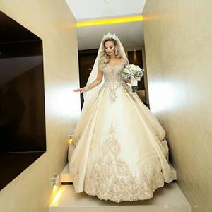 Sheer Long Sleeves A-Line Brautkleider Spitze Appliques 2019 Perlen Brautkleider Formale Lange Garten Robe De Marriage Benutzerdefinierte Plus Größe