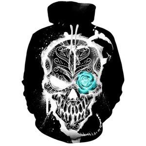 Nova Personalidade Homens Mulheres Hoodies Streetwear 3d Crânio Digital Printing solto Hoodie Casal camisola S-3xl Tamanho frete grátis