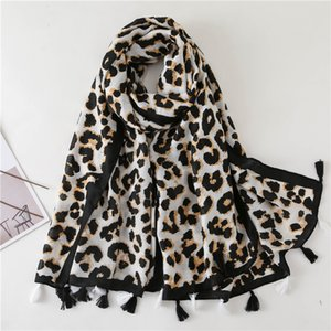 Women Winter Scarf Leopard Dot Tassel Neck Scarf Female Printed Shawl Warm Long Scarves Fashion leopard Polka Neckerchief Wraps YFA2094