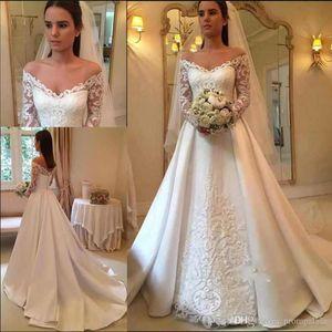 Online Modest Vintage Wedding Dresses With Long Sleeves Lace Applique Satin Off-Shoulder Garden Plus Size Bridal Gowns
