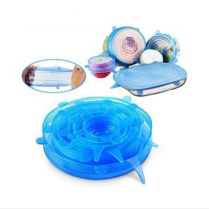 Silikon-Stretch-Staubsaug Pot Lids Food Grade Frischhalten Wrap Seal Deckel Pan Abdeckung Nizza Küchenzubehör 6PCS / Set LXL568-1L