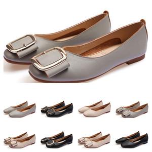 De nouvelles dames Chaussures plates taille lager 33-43 femmes fille nue en cuir gris noir Nouveau arrivel mariage Groupe de travail chaussures robe trois