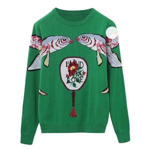 2019 grün gestrickte pullover pullover frauen laufway designer doppelfisch weibliche damen weihnachten jumper herbst winter kleidung