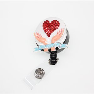10pcs lot new arrival medical rhinestone enamel heart shape nurse and doctor Decorative Retractable ID Badge Holder reel for gift