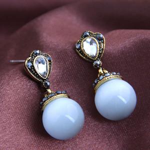 Nuevo gato Opal piedra del ojo pendientes para la joyería Mujeres Ronda pendientes colgantes Mujer 2020 Declaración de joyería de moda Pendientes
