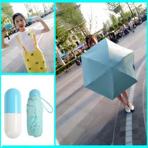 Kreative wasserdichte Kapsel Shell Regenschirm Anti-UV-Shading Mini leichte, tragbare Regenschirme rund und glatt Griff Regenschirm DH0827