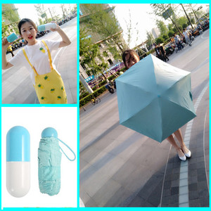Creative Waterproof Capsule Shell Umbrella Anti-UV Shading Mini Lightweight Portable Umbrellas Round And Smooth Handle Umbrella DH0827