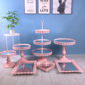 7 pçs / set novo design venda quente decoração de metal do casamento com cristal Acrílico espelho cupcake cake stand