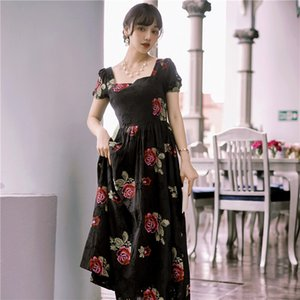 Best Quality Series Elegant Dress Black Embroidered Floral Square Neck French Princess Fashion Wedding Holiday Charming Women Dresses 1181