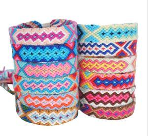 Vsco Woven Bracelet for Girl Women Handmade Rope Hit Color Exotic Wind Pattern Rainbow Bracelet Lucky Friendship Bracelet GD161