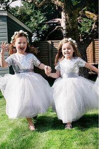 Robe de soirée de mariage argentée à manches courtes et paillettes pour enfants