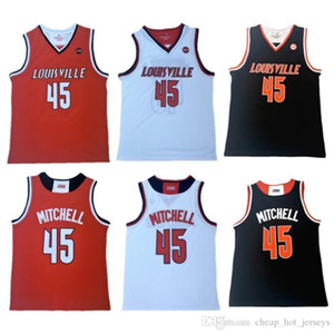45 Donovan Mens Mitchell Louisville Cardinal College Jersey 100% Stitched Donovan Mitchell University College Basketball Jerseys