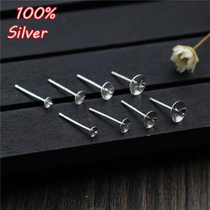 2pair gros 925 bijoux fin de bricolage dormeuses Faire Accessoires appropriés Pour 3 4 5 6 mm Perle Crystal Jade base Blank