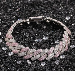 Hip Hop Silver And Pink Color Cuba Chain Bracelet For Men And Women High Quality Jewelry Hot Sale In America