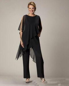 2019 Black Mãe terninho Jewel Bainha Com irregulares Jacket além da calça tamanho ternos Chiffon Vestido Formal