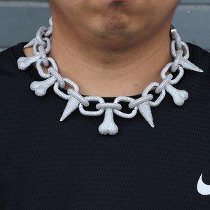 AAA CZ камень Престижное Большой Тяжелый Rivet Спайк Bone звено цепи ожерелье Bling Iced Out Мужчины Hip Hop Рэпер ожерелья Мужской Ювелирные изделия