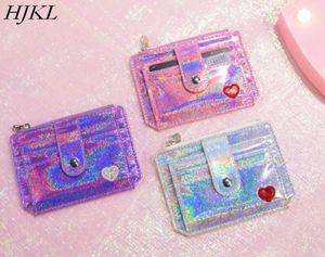 HJKL porte carte pack con love PU pack con id billetera láser cero monedero tarjeta de bus set tarjeta multifunción