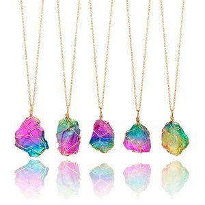 Bunte Stein Halskette Kristall Anhänger Damen Kind Schmuckdesign Mode-Kette Geschenk Natürliche Multicolor HHA1341