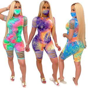 Tasarımcı Kadınlar Şort Kıyafetler Batik Eşofman Gömlek Üst Delik Pantolon 2 Adet Set Bayanlar sweatsuits Giyim DHL T16