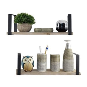 Floating Shelves Wall Mounted Set of 2, Rustic Torched Wood & Square Matting Bracket to Storage Organize and Display for Living Bathroom Sto