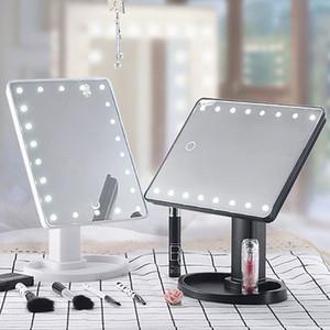 Miroir de maquillage de miroir de décoration USB avec peigne à cheveux Meuble-lavabo de maquillage à écran tactile avec 22 lumières à LED, rotation de 360 degrés