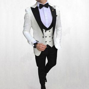 패션 화이트 신랑 턱시도 피크 옷깃 슬림 맞는 남성 웨딩 턱시도 우수한 남자 재킷 재킷 3 개 정장 (재킷 + 바지 + 조끼 + 넥타이) 826