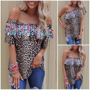 Womens T-Shirt Floral Casual Fashion Women Tshirts Summer All Match Sleeveless Ladies Tops Leopard Slash Neck