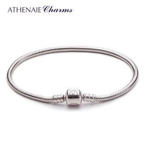Athenaie 925 Sterling Silver Snake Chain Bracciale Fit europeo perline di fascino per le donne gioielli regalo Y19062901