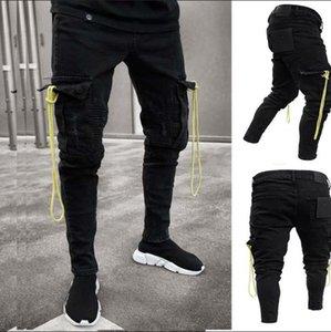 Mens schwarz Cargo Jeans im Used ausgefransten Biker Jeans Slim Fit großen Tasche Bleistift-Denim-Hosen plus Größe S-3XL Man Hosen Trendy