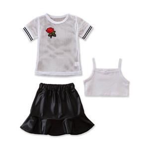 Ins 2020 Summer fashion girls suits Girls Outfits kids designer clothes girls T shirt+tank+Pu leather skirts 3pcs set kids clothes B1612