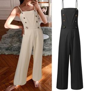 Kadın Tulumlar Tulum Moda Celmia Playsuits Kadınlar Casual Parti Yaz Yüksek Bel Vintage Keten Gevşek Düğmeleri Kolsuz Uzun Pantolon