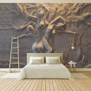 Personalizado Wallpaper Europeia Stereoscopic 3D em relevo Abstract Beauty Body Art Fundo da parede Pintura Sala Quarto Mural